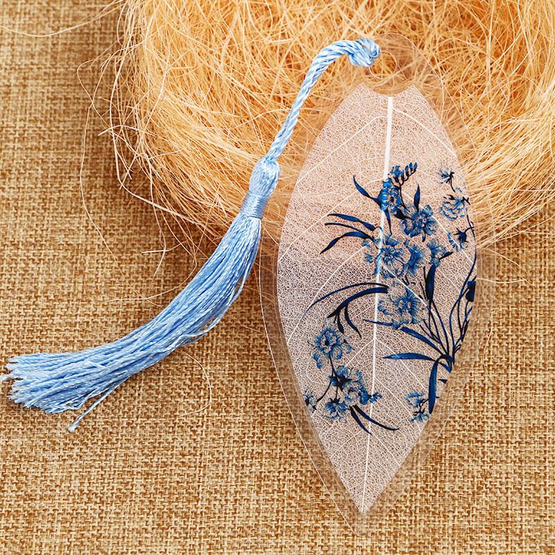 古风手绘叶脉书签礼物中国风复古水墨学生个性礼品小清新树叶书签 一