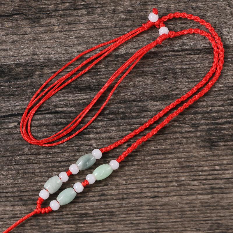 手工编织项链红绳项链绳吊坠绳黄金玉佩水晶玉石挂绳可调节男女 棕色