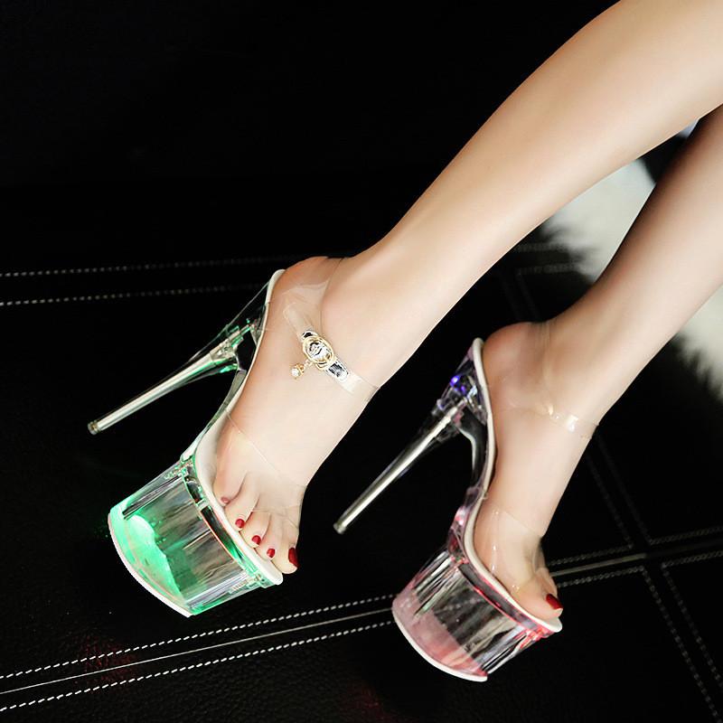 性感全透明水晶细跟凉鞋18cm超高跟女鞋露趾大码闪光灯鞋发光鞋