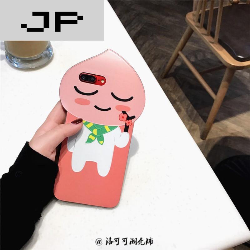 jp潮流品牌韩国可爱卡通桃子小熊iphone7手机壳苹果6s plus软壳个性