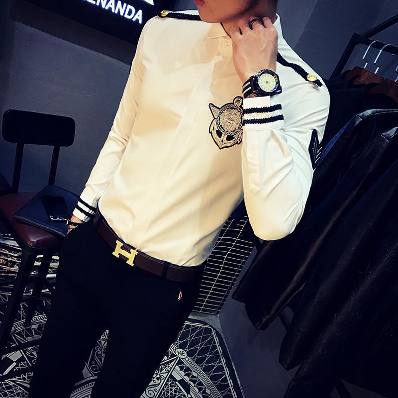 骑士普丁男士修身空少制服男模演出夜店ktv酒吧工作服发型师长袖衬衫图片