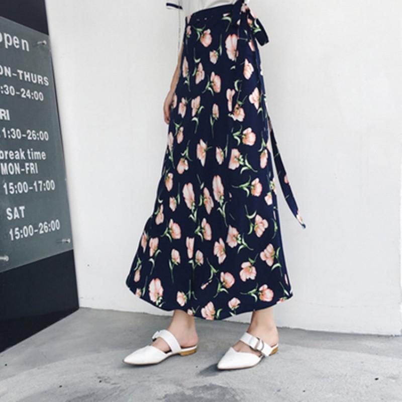 半身裙夏女装沙滩裙海边度假波西米亚碎花长裙一片式系带半身裹裙