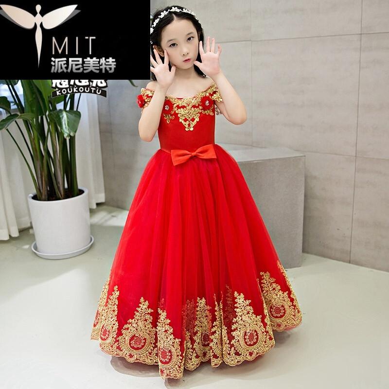 儿童礼服公主裙蓬蓬裙钢琴女童走秀晚礼服婚纱红色长裙春夏_6 130cm