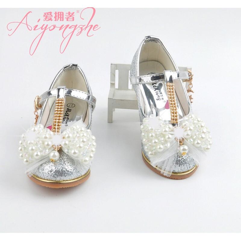爱拥者新款儿童皮鞋韩版女童公主小高跟鞋牛筋