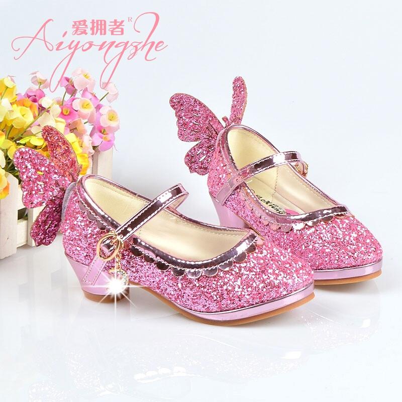 爱拥者童鞋女童皮鞋公主鞋亮片儿童单鞋春秋季新款韩版小学生高跟鞋