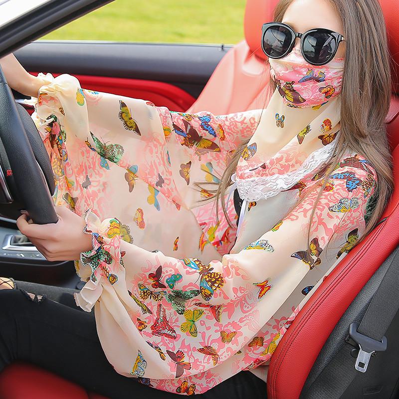 夏季防晒披肩丝巾女士雪纺衫骑车开车防紫外线护颈口罩一体防晒衣