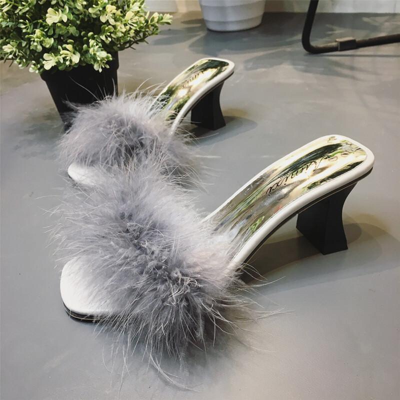 2017新款嗓子高跟a嗓子毛毛鞋一字凉性感拖鞋v嗓子病毒性拖鞋发炎图片