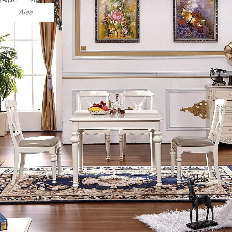 aiee美式餐桌椅组合正方形欧式田园餐台实木小户型饭桌子正方形象牙白