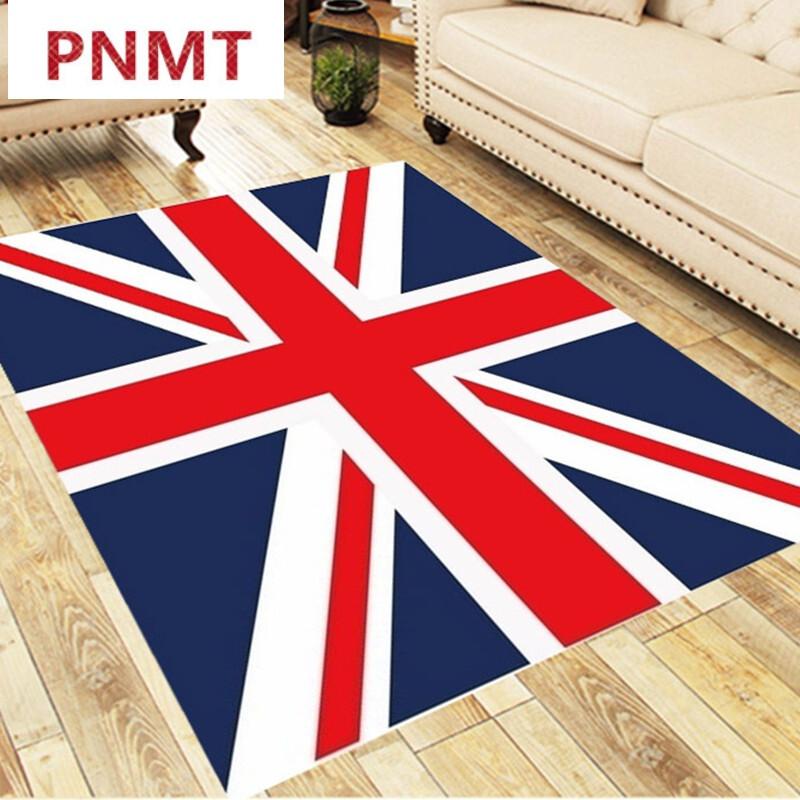 儿童房地毯欧式地垫客厅茶几书桌榻榻米卧室床边公主粉 宝蓝色米字旗