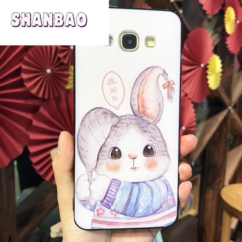shanbao三星a5/a7/a8彩绘卡通可爱小兔子手机壳e7/j5/j7挂脖全包保护