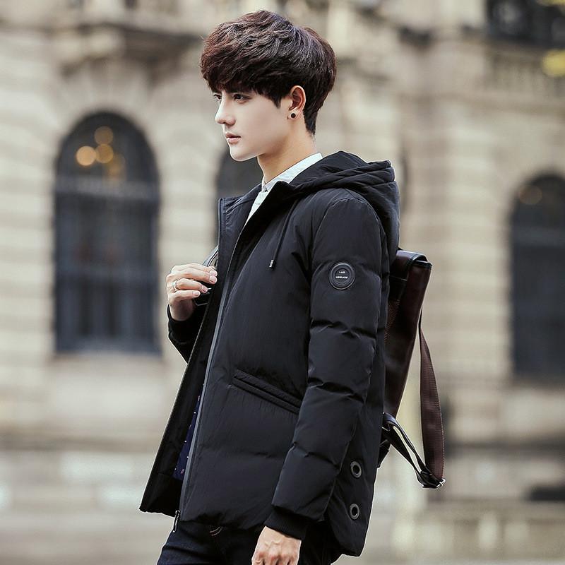 2018冬季男士連帽外套韓版加厚羽絨服男保暖中長款修身男裝連帽上衣yy圖片