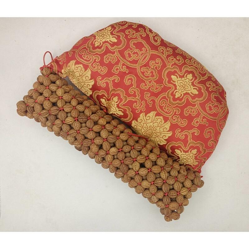 山核桃颈椎桃核枕头纯手工编制透气牵引矫正颈椎痛专用枕红色长39直径