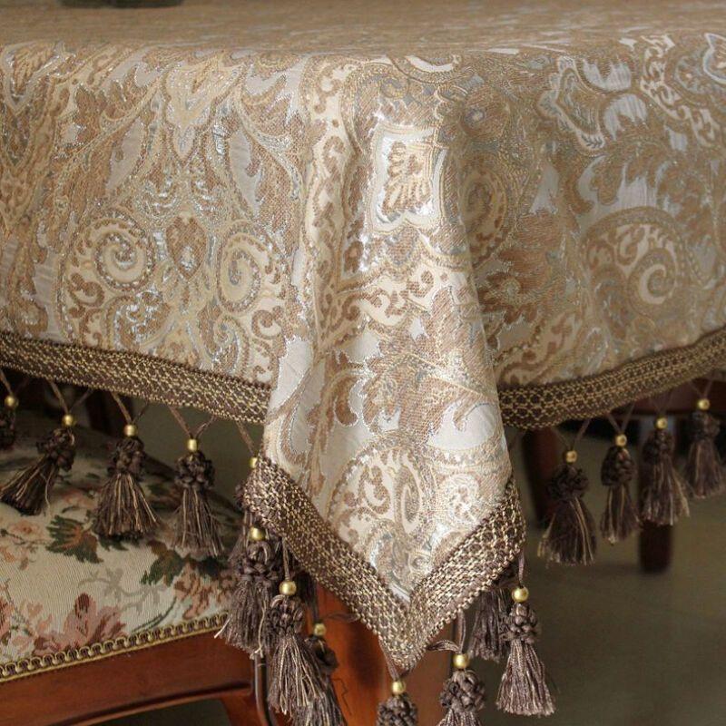 欧式餐桌桌布布艺正方形茶几桌布长方形桌布椅套椅垫桌旗可定制浅卡其