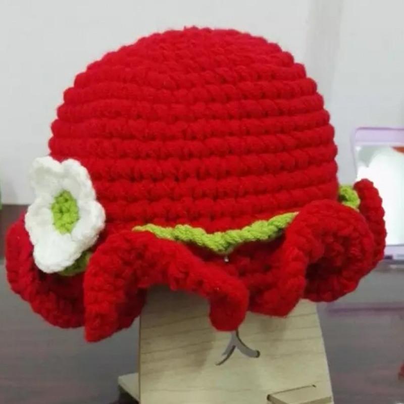 110新款婴儿童毛线棉手工diy帽子护耳帽送钩针编制教程 冬季绒帽系列