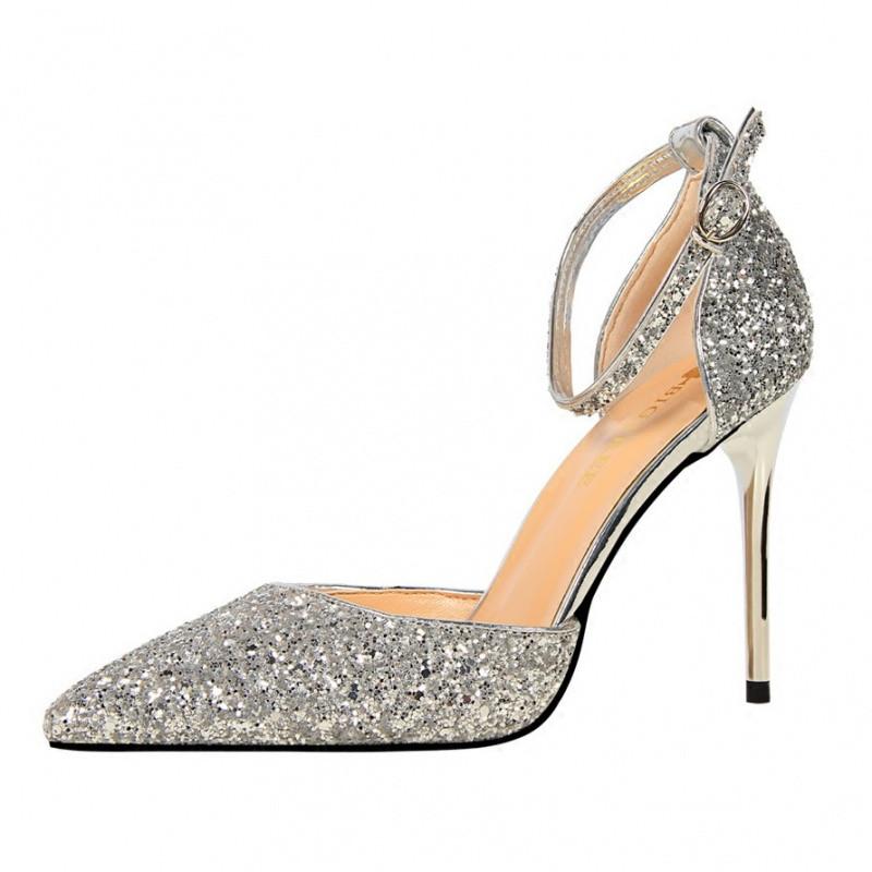 夏季女凉鞋水晶亮片尖头高跟鞋细跟浅口一字扣带镂空单鞋新娘婚鞋_1