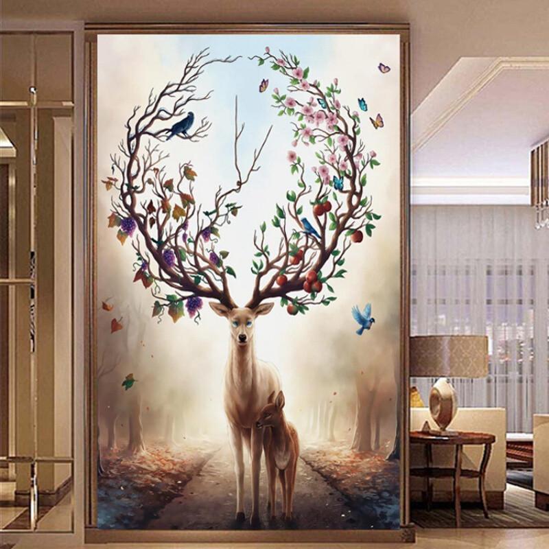 5d钻石画新款满钻发财鹿竖版客厅玄关贴钻十字绣卧室欧式现代简约_1