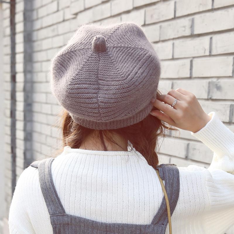 帽子女冬季八角帽毛线帽针织帽保暖帽百搭帽子韩版时尚兔毛帽女帽_1