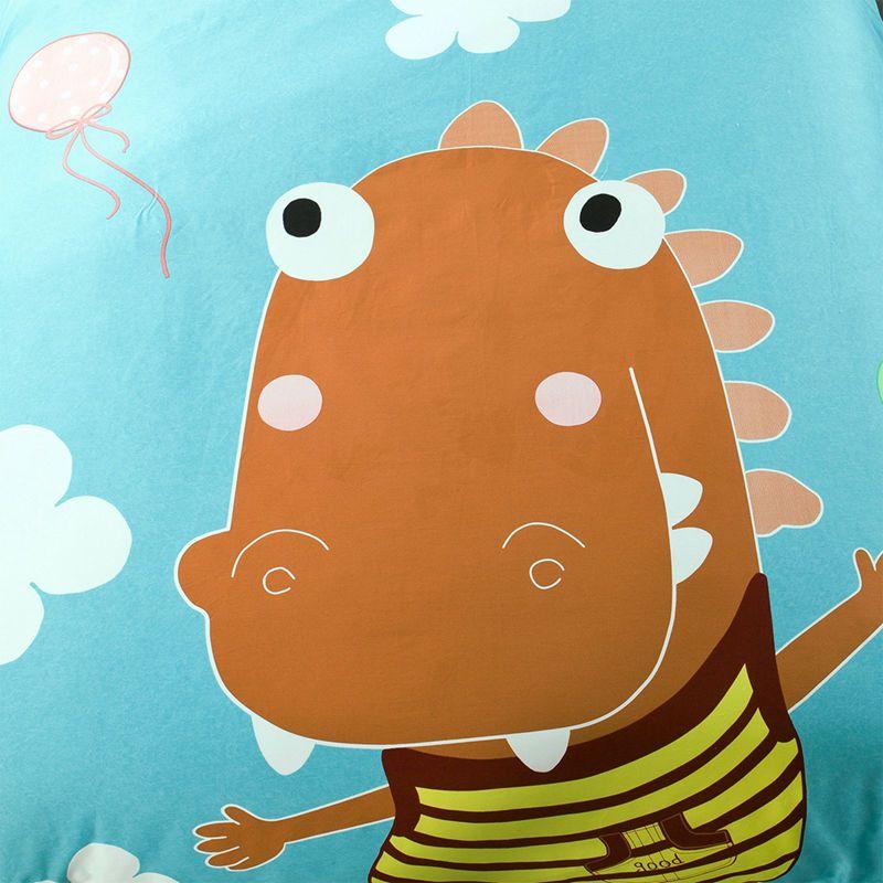 卡通风全棉大阪四件套呆萌可爱小恐龙淡绿色简约时尚精品套件1.8m 1.