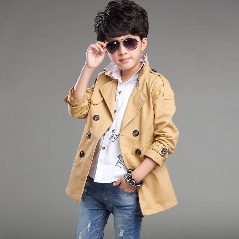 2017新款男童外套男孩风衣中长款7中大童男装秋装青少年小学生儿童12