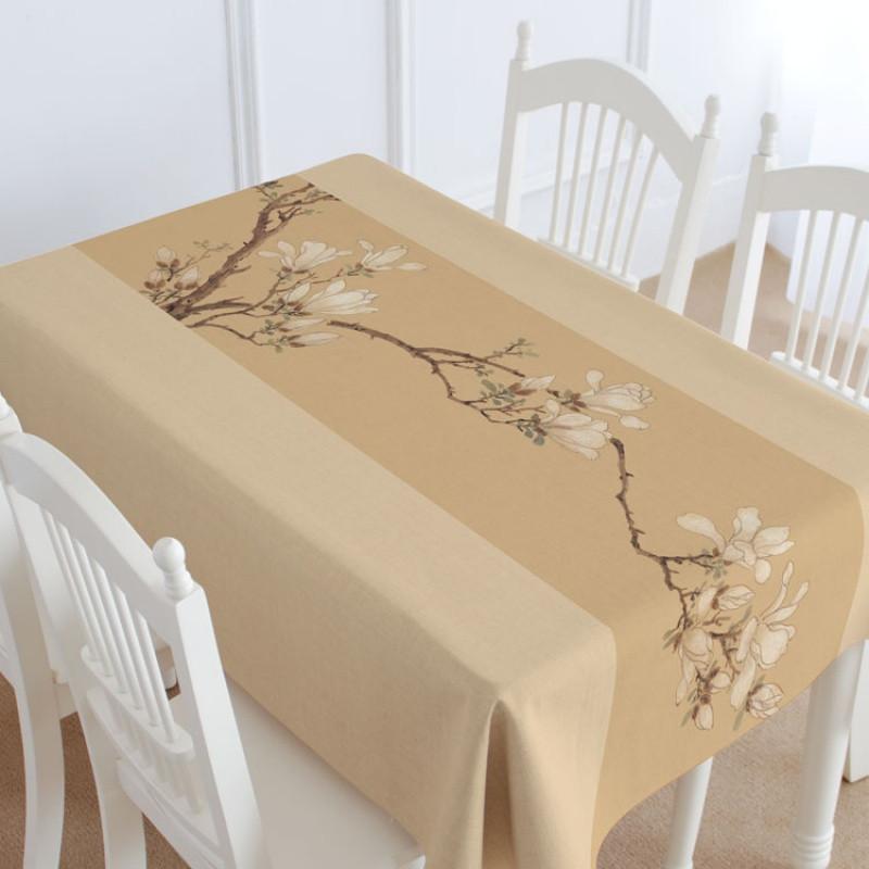 中国风新中式红木家具配套桌布棉麻盖布桌布台布茶几布玉兰图_1 110*