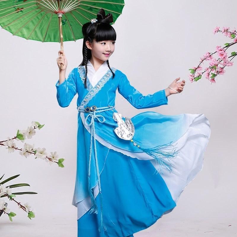 古装服装儿童仙女汉服女童公主贵妃唐装写真古筝碧瑶演出服_9 150cm