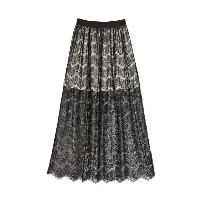 olomo欧莱诺女装风情蕾丝撞色内衬长半裙