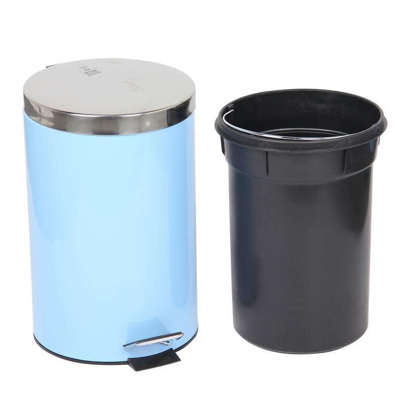 世家圆形平盖脚踏式垃圾桶12l