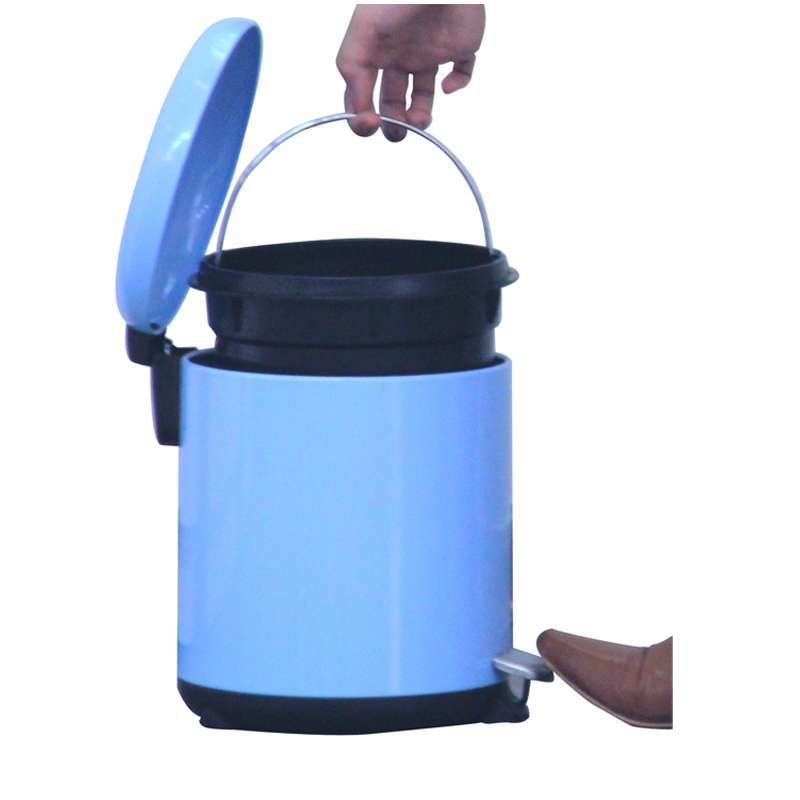 世家圆形彩色脚踏垃圾桶5l