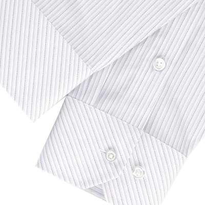 hodo红豆男装商务正装白底灰条抗皱长袖衬衫ecs31006