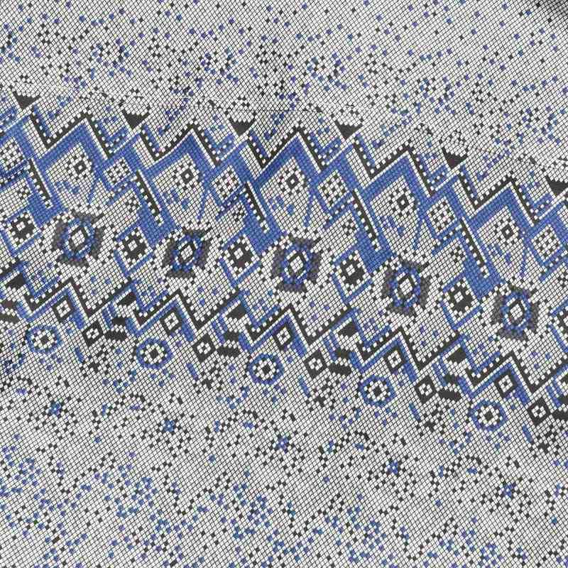 九鹿王 男式费尔岛花纹纯棉短袖衬衫n2xc157 蓝色渐变