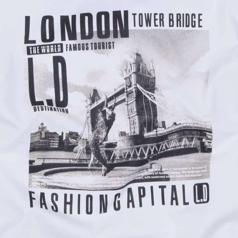 柒加尚品伦敦塔桥男士长袖t恤23tx02
