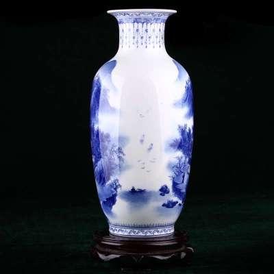 陶瓷家居装饰摆件青花瓷花瓶手工绘画 山水人家 特价包邮 wy 3616