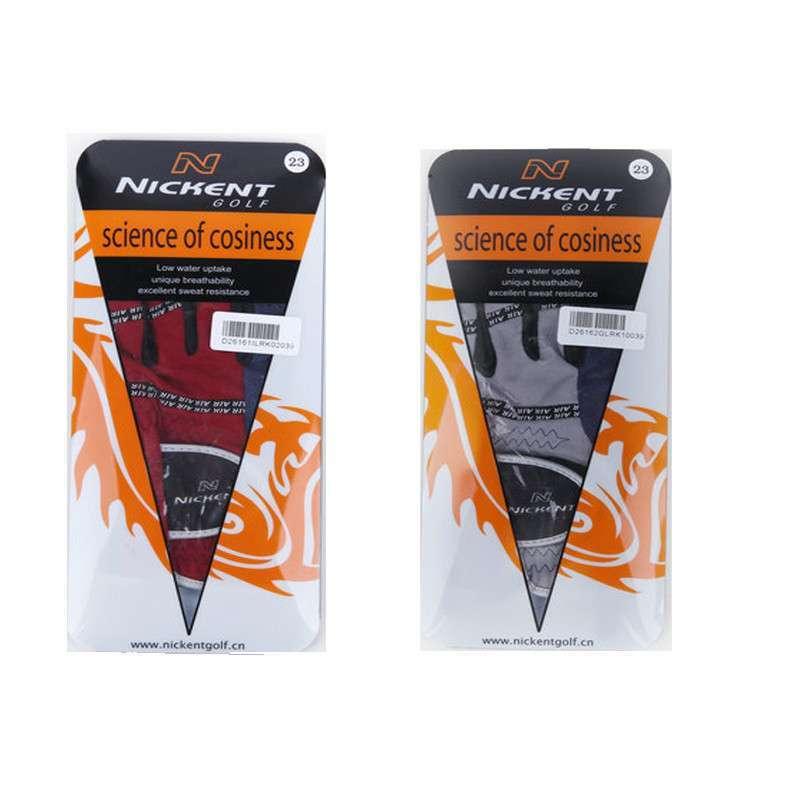 高尔夫手套 nickent 尼肯特 男士布手套 透气耐磨 蓝灰布 蓝红布两款