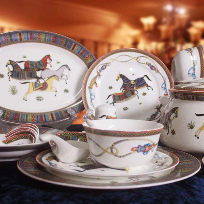 景德镇沁玉陶瓷 欧式 骨瓷 46头餐具 套装 爱马仕