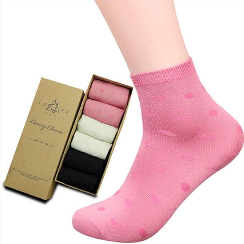 亲肤女式袜子 滑爽柔顺 包邮 圆点6双装 均码图