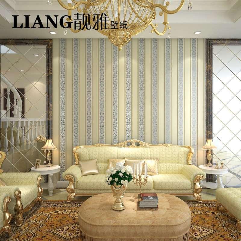 靓雅墙纸 条纹卧室客厅电视背景墙壁纸 欧式隔音绒面无纺布墙纸