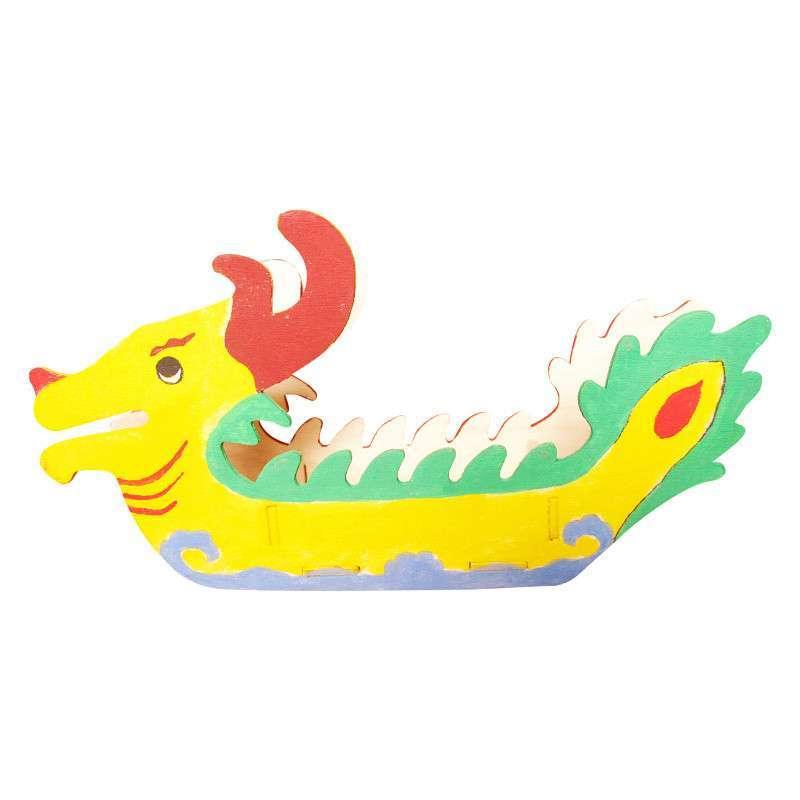 传统赛龙舟diy手工材料包 木制龙船模型 3d益智玩具 端午节礼品