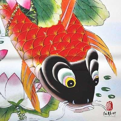 【红泥坊】杨柳青年画 鲤鱼献宝 天津传统海报 吉祥画