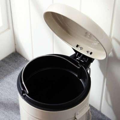 圆形手挽铁制钢卫生间脚踏翻盖垃圾桶象牙白3
