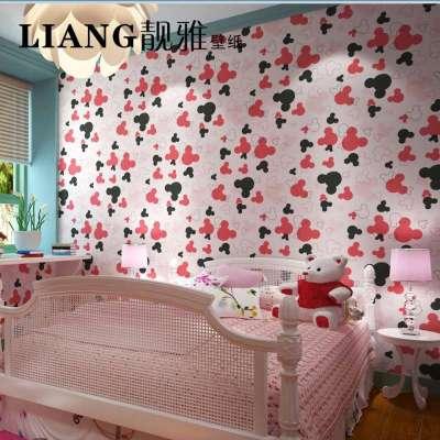 卡通风格壁纸 公主房女孩卧室背景儿童房无纺布墙纸-苏宁电器网上商城