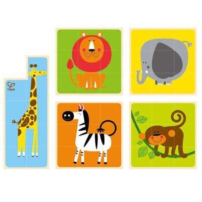 德国hape动物六面拼图积木儿童玩具