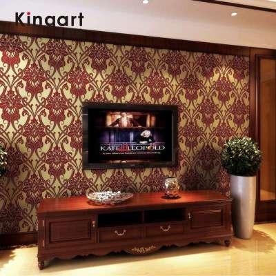 凯雅特壁纸奢华欧式无纺布植绒墙纸酒店餐厅卧室客厅