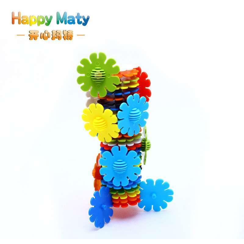 开心玛特 花形雪花片积木 塑料拼插 儿童拼插拼装益智玩具