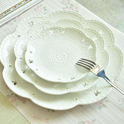 【乐享家居】欧式奶白浮雕镂空陶瓷器餐具套装西餐