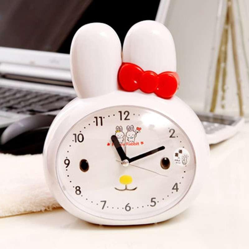 可爱卡通长耳兔升级双音版语音闹钟带夜灯卡通k