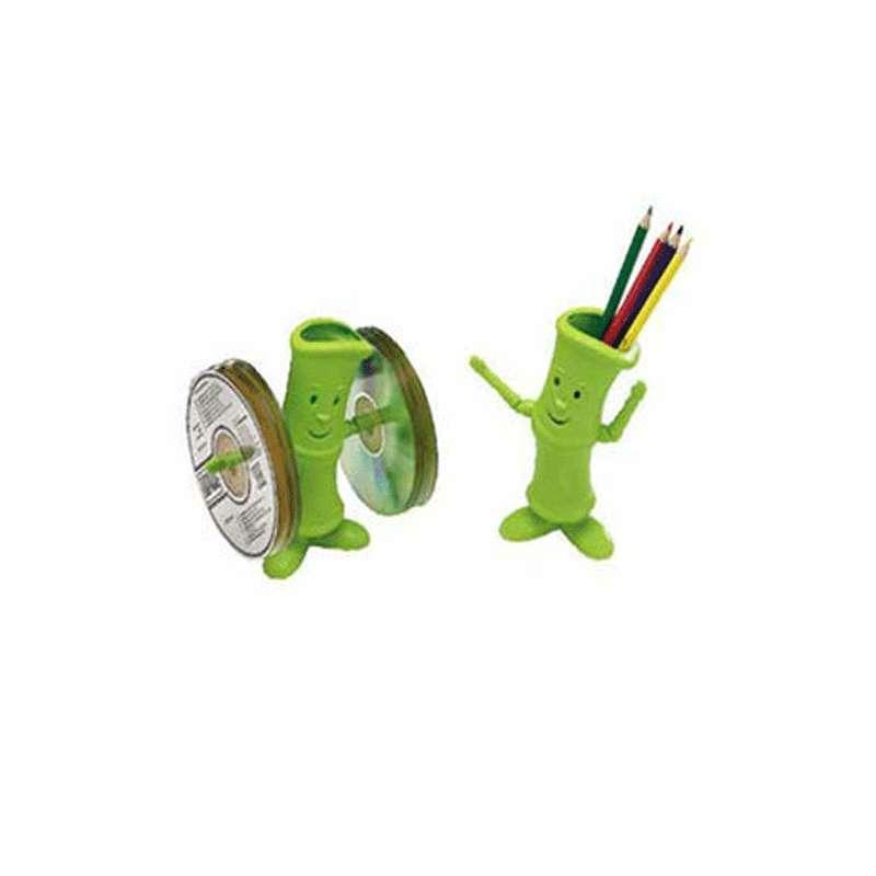 淘乐士创意时尚卡通cd架 多功能笔筒文具收纳筒 二合一光盘收纳架 3个