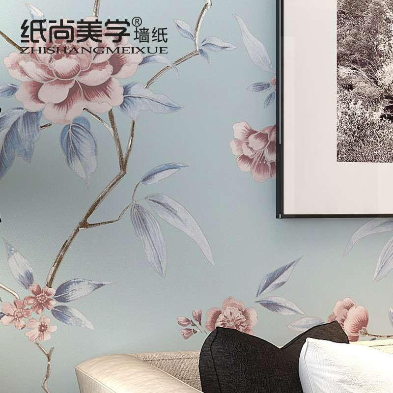 中式田园 yn64103牡丹花客厅卧室蓝色壁纸-苏宁电器