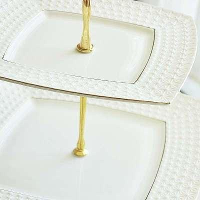 欧式手工纯白描金高端陶瓷器浮雕方形水果盘子