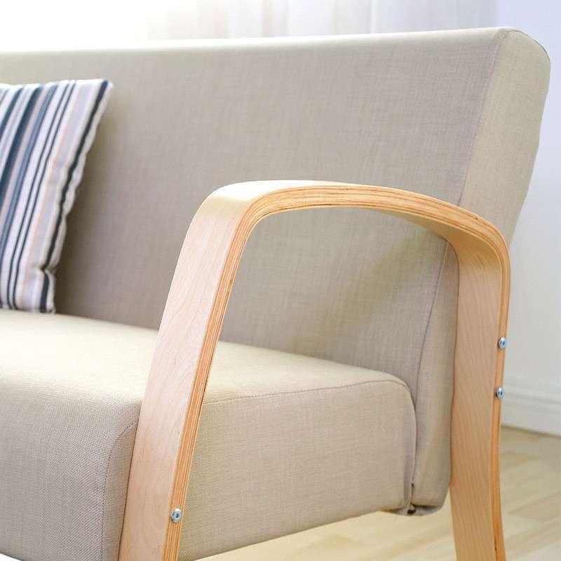 creatwo潮土曲木沙发组合 亚麻色单人沙发双人沙发组合 可拆装易清理