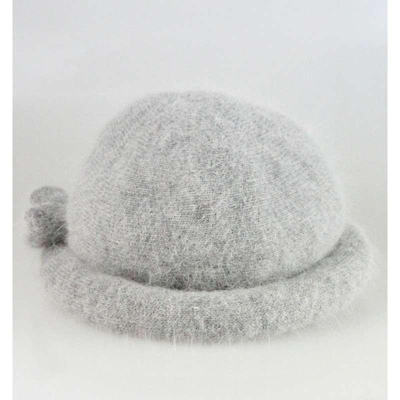 盛锡福兔毛线帽围巾两件套女中老年秋冬款 红色图片